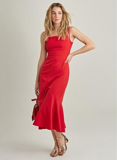 NGSTYLE Kare Yaka Volanlı Elbise Kırmızı